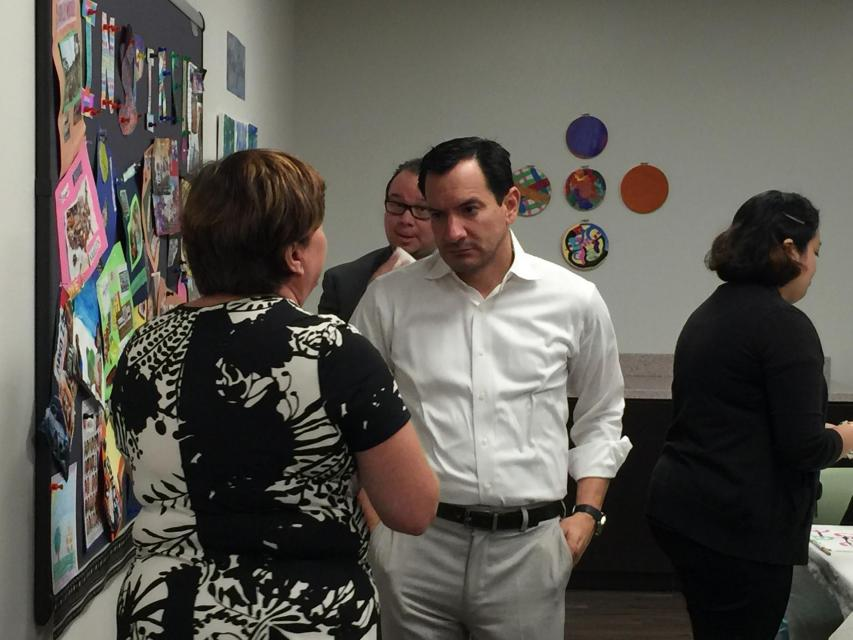 Assembly Speaker Anthony Rendon visits an SVS program for adults  in his district
